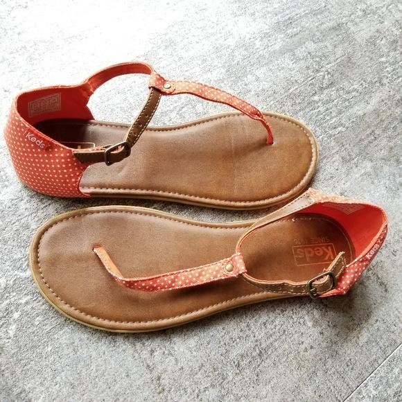 Orange Sandals 9 Size White Polka Keds Dots KJ1lFc